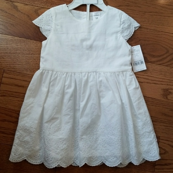 3b018d02d4 Carter s Baby Girl Delicate White Scalloped Dress
